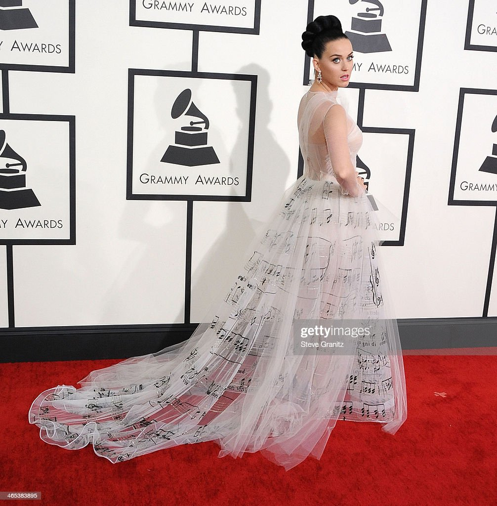 <a gi-track='captionPersonalityLinkClicked' href=/galleries/search?phrase=Katy+Perry&family=editorial&specificpeople=599558 ng-click='$event.stopPropagation()'>Katy Perry</a> arrivals at the 56th GRAMMY Awards on January 26, 2014 in Los Angeles, California.