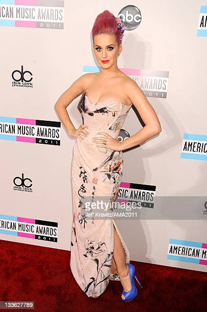 Katy Perry arrives at the 2011 American Music Awards at the Nokia Theatre LA LIVE on November 20 2011 in Los Angeles California