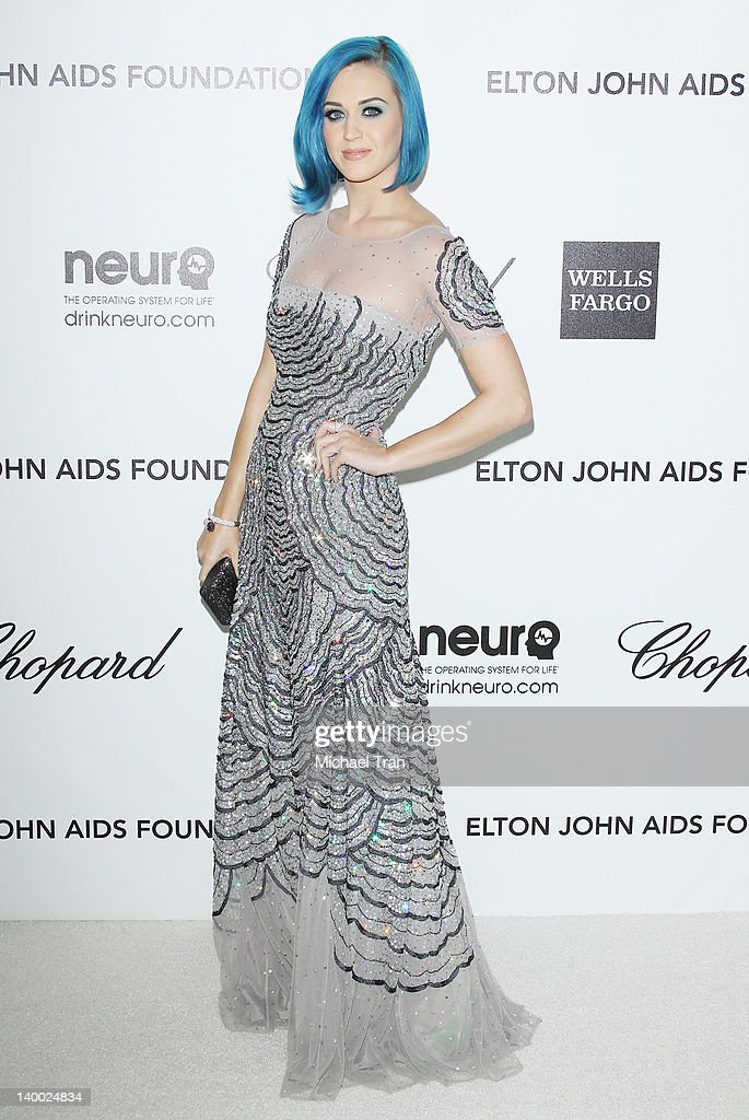 Katy Perry arrives at the 20th Annual Elton John AIDS Foundation Academy Awards viewing party held across the street from the Pacific Design Center on February 26, 2012 in West Hollywood, California.
