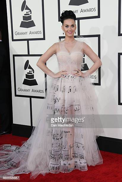Katy Perry arrives at the 56th Annual GRAMMY Awards at Staples Center on January 26 2014 in Los Angeles California
