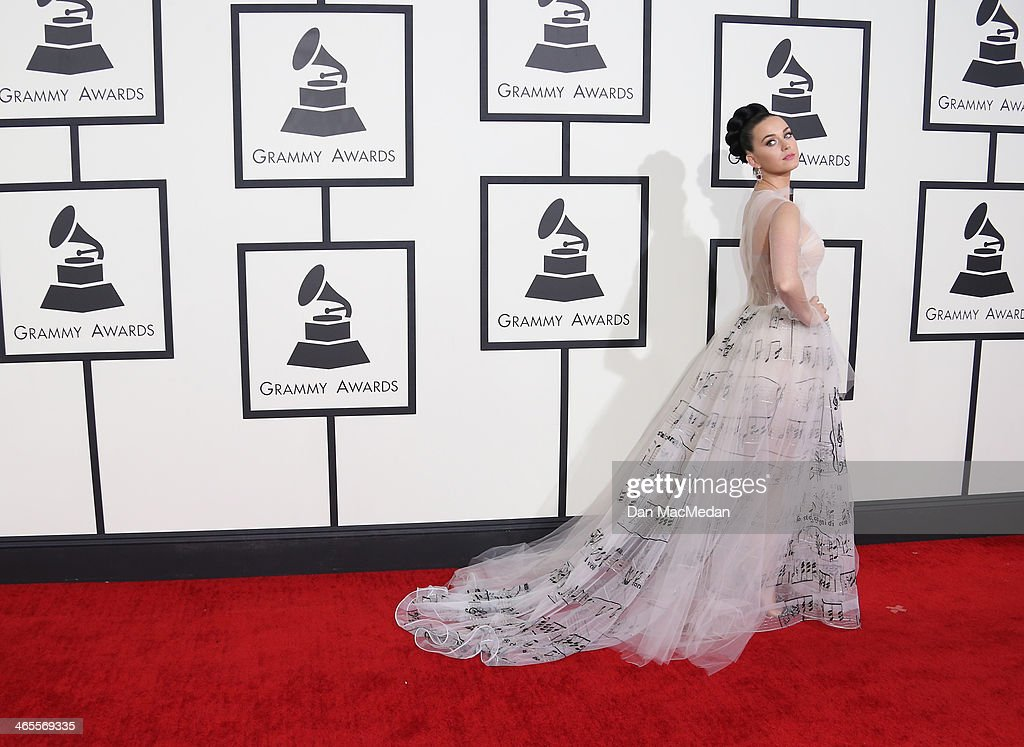 <a gi-track='captionPersonalityLinkClicked' href=/galleries/search?phrase=Katy+Perry&family=editorial&specificpeople=599558 ng-click='$event.stopPropagation()'>Katy Perry</a> arrives at the 56th Annual GRAMMY Awards at Staples Center on January 26, 2014 in Los Angeles, California.