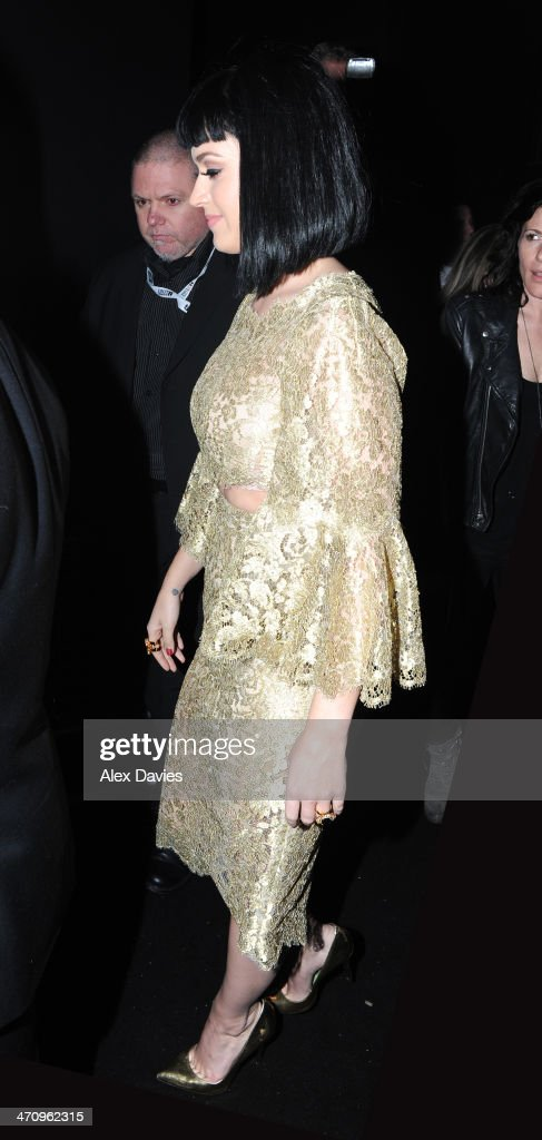 Katy Perry arriving at Universal music Brits afterparty on February 19, 2014 in London, England.
