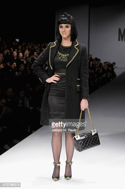 Katy Perry attends the Moschino show as a part of Milan Fashion Week Womenswear Autumn/Winter 2014 on February 20 2014 in Milan Italy