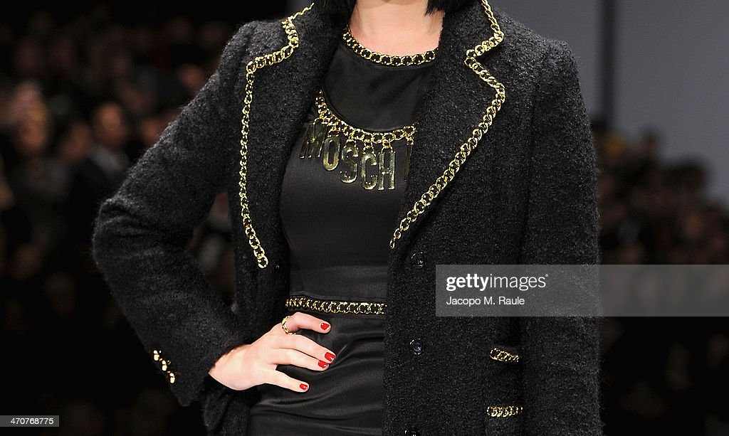 Katy Perry (detail) attends the Moschino show as a part of Milan Fashion Week Womenswear Autumn/Winter 2014 on February 20, 2014 in Milan, Italy.