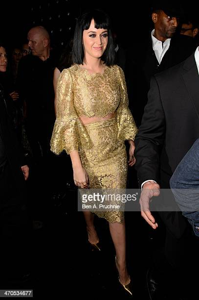 Katy Perry attends the Universal music afterparty for The BRIT Awards 2014 at Soho House 'Popup' Bar on February 19 2014 in London England