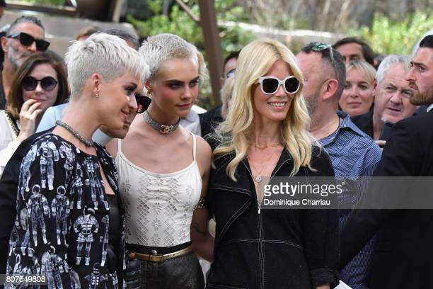 Katy Perry Cara Delevingne and Claudia Schiffer attend the Chanel Haute Couture Fall/Winter 20172018 show as part of Haute Couture Paris Fashion Week...
