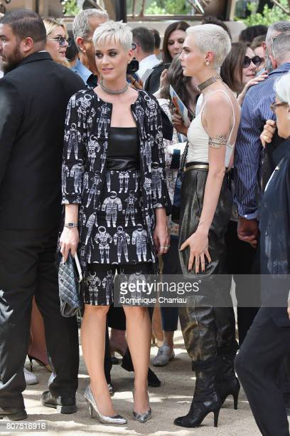 Katy Perry Cara Delevingne attend the Chanel Haute Couture Fall/Winter 20172018 show as part of Haute Couture Paris Fashion Week on July 4 2017 in...