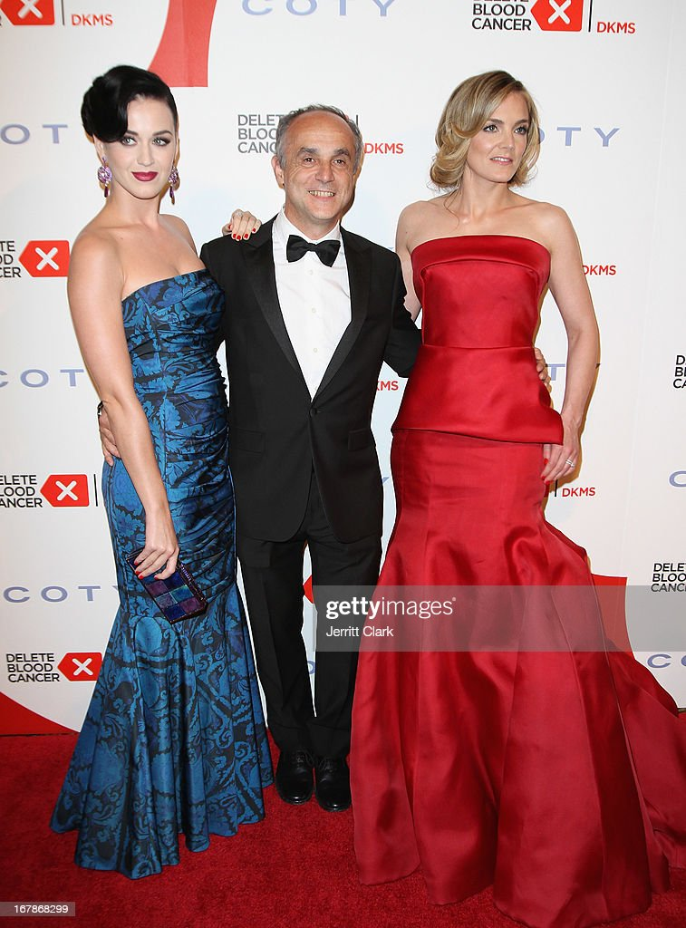 Katy Perry, CEO of Coty Inc. Michele Scannavini and Founder of Delete Blood Cancer Katharina Harf attend the 2013 Delete Blood Cancer Gala at Cipriani Wall Street on May 1, 2013 in New York City.
