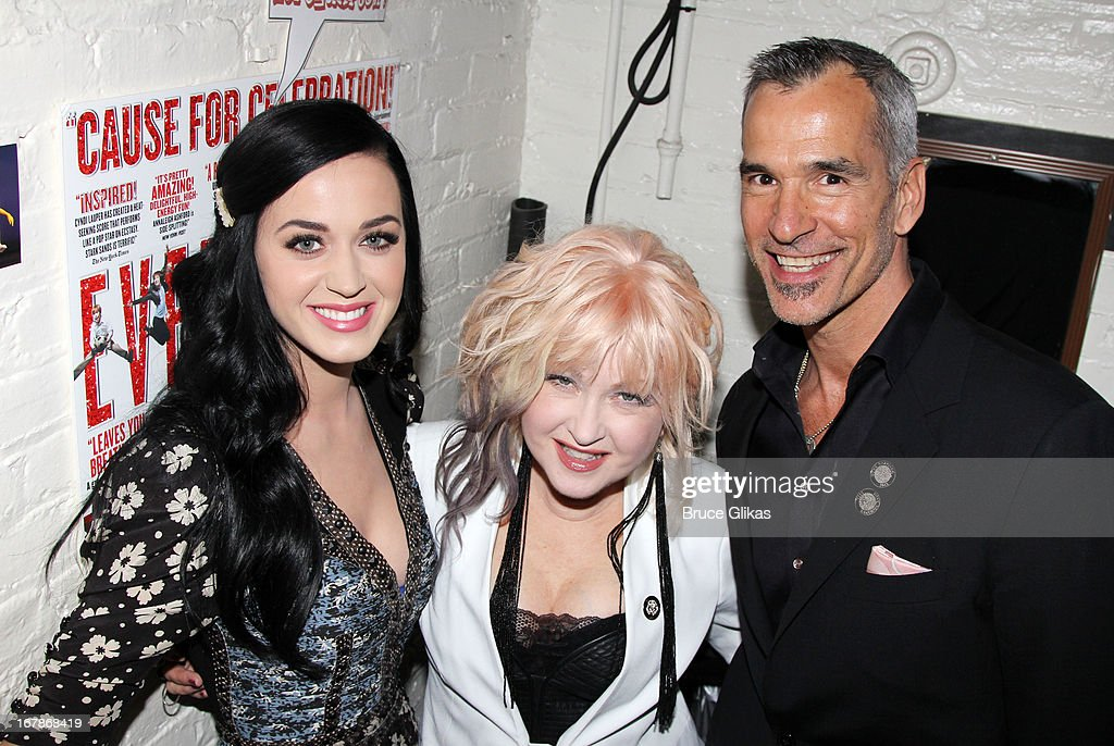 Katy Perry, composer Cyndi Lauper and director/choreographer Jerry Mitchell pose backstage at the Tony Nominated hit musical 'Kinky Boots' on Broadway at The Al Hirshfeld Theater on May 1, 2013 in New York City.