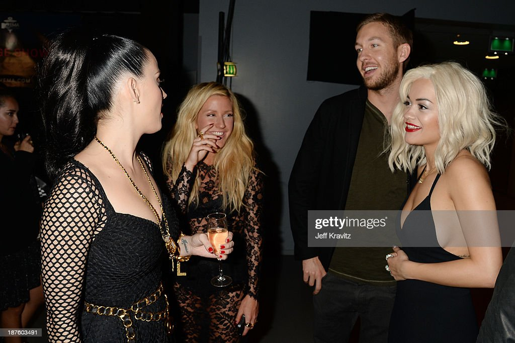 <a gi-track='captionPersonalityLinkClicked' href=/galleries/search?phrase=Katy+Perry&family=editorial&specificpeople=599558 ng-click='$event.stopPropagation()'>Katy Perry</a>, <a gi-track='captionPersonalityLinkClicked' href=/galleries/search?phrase=Ellie+Goulding&family=editorial&specificpeople=6389309 ng-click='$event.stopPropagation()'>Ellie Goulding</a>, <a gi-track='captionPersonalityLinkClicked' href=/galleries/search?phrase=Calvin+Harris&family=editorial&specificpeople=4412722 ng-click='$event.stopPropagation()'>Calvin Harris</a> and <a gi-track='captionPersonalityLinkClicked' href=/galleries/search?phrase=Rita+Ora&family=editorial&specificpeople=5686485 ng-click='$event.stopPropagation()'>Rita Ora</a> pose backstage during the MTV EMA's 2013 at the Ziggo Dome on November 10, 2013 in Amsterdam, Netherlands.