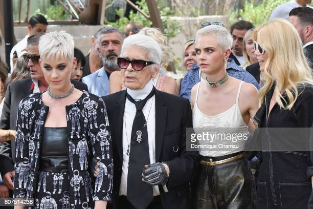 Katy Perry Fashion designer Karl Lagerfeld Cara Delevingne and Claudia Schiffer attend the Chanel Haute Couture Fall/Winter 20172018 show as part of...