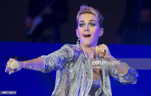 Katy Perry headlines and performs on stage on Day 1 of BBC Radio 1's Big Weekend 2017 at Burton Constable Hall on May 27 2017 in Hull United Kingdom