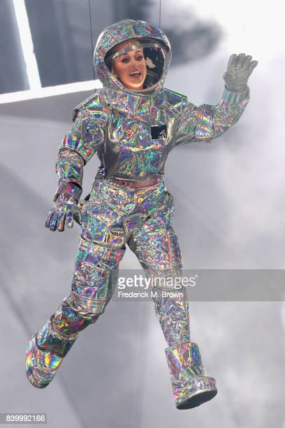 Katy Perry is lowered onto the stage during the 2017 MTV Video Music Awards at The Forum on August 27 2017 in Inglewood California