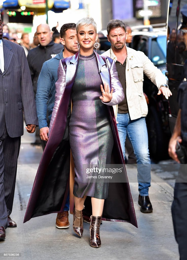 Katy Perry leaves ABC's 'Good Morning America' in Times Square on October 4, 2017 in New York City.