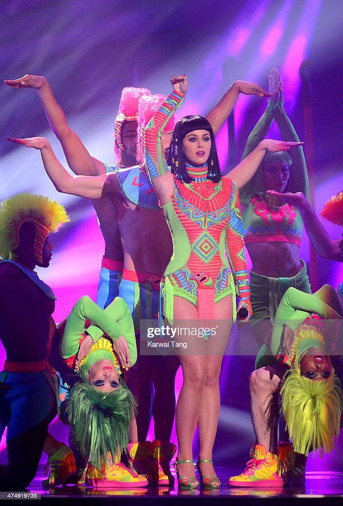 Katy Perry performs at The BRIT Awards 2014 at 02 Arena on February 19, 2014 in London, England.
