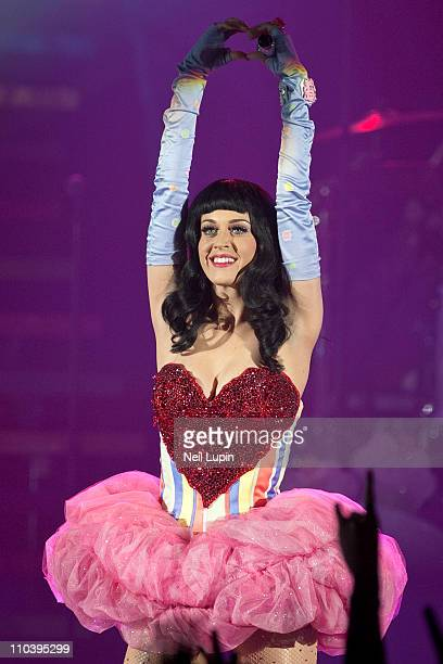 Katy Perry performs her 'California Dreams' Tour at Hammersmith Apollo on March 17 2011 in London England