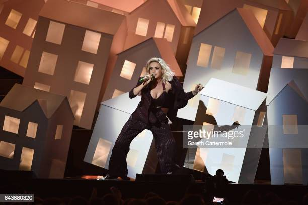 Katy Perry performs on stage at The BRIT Awards 2017 at The O2 Arena on February 22 2017 in London England