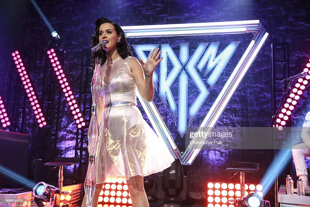 <a gi-track='captionPersonalityLinkClicked' href=/galleries/search?phrase=Katy+Perry&family=editorial&specificpeople=599558 ng-click='$event.stopPropagation()'>Katy Perry</a> performs on stage at the <a gi-track='captionPersonalityLinkClicked' href=/galleries/search?phrase=Katy+Perry&family=editorial&specificpeople=599558 ng-click='$event.stopPropagation()'>Katy Perry</a> iHeartRadio album release party on October 22, 2013 in Los Angeles, California.