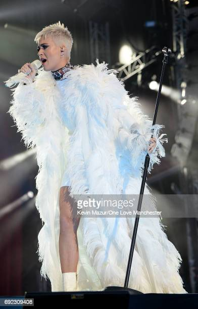 Katy Perry performs on stage during the One Love Manchester Benefit Concert at Old Trafford Cricket Ground on June 4 2017 in Manchester England