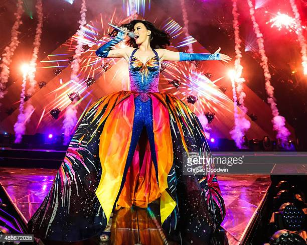Katy Perry performs on stage on the opening night of her Prismatic World Tour at Odyssey Arena on May 7 2014 in Belfast Northern Ireland
