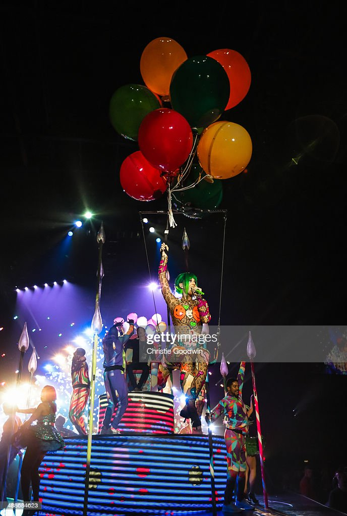 Katy Perry performs on stage on the opening night of the Prismatic World Tour at Odyssey Arena on May 7, 2014 in Belfast, Northern Ireland.