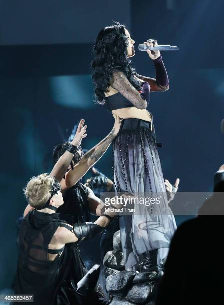 Katy Perry performs onstage during the 56th GRAMMY Awards held at Staples Center on January 26 2014 in Los Angeles California