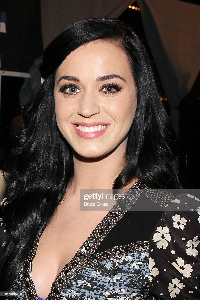 Katy Perry poses backstage at the Tony Nominated hit musical 'Kinky Boots' on Broadway at The Al Hirshfeld Theater on May 1, 2013 in New York City.
