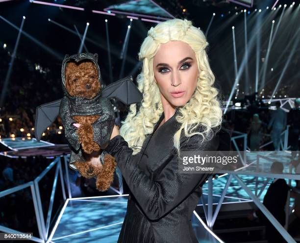 Katy Perry poses in costume during the 2017 MTV Video Music Awards at The Forum on August 27 2017 in Inglewood California