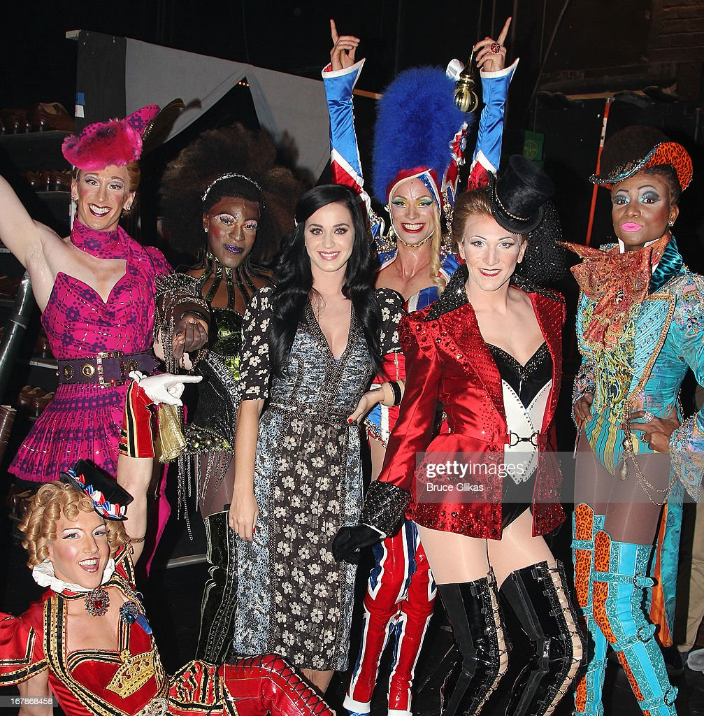 <a gi-track='captionPersonalityLinkClicked' href=/galleries/search?phrase=Katy+Perry&family=editorial&specificpeople=599558 ng-click='$event.stopPropagation()'>Katy Perry</a> poses with 'The Angels' in the cast backstage at the Tony Nominated hit musical 'Kinky Boots' on Broadway at The Al Hirshfeld Theater on May 1, 2013 in New York City.
