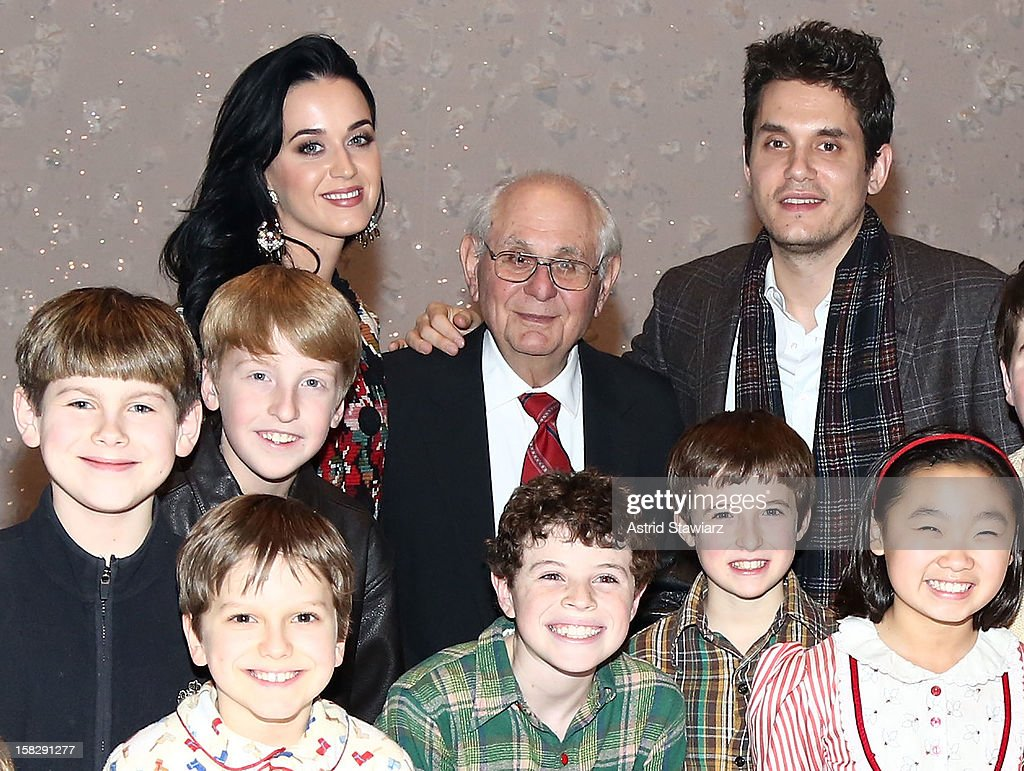 <a gi-track='captionPersonalityLinkClicked' href=/galleries/search?phrase=Katy+Perry&family=editorial&specificpeople=599558 ng-click='$event.stopPropagation()'>Katy Perry</a>, Richard Mayer and <a gi-track='captionPersonalityLinkClicked' href=/galleries/search?phrase=John+Mayer&family=editorial&specificpeople=201930 ng-click='$event.stopPropagation()'>John Mayer</a> pose for photos with cast members from 'A Christmas Story, The Musical' Broadway Performance at Lunt-Fontanne Theatre on December 12, 2012 in New York City.