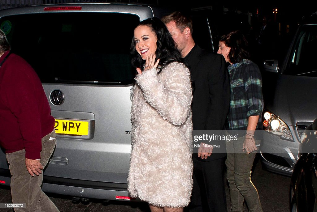 <a gi-track='captionPersonalityLinkClicked' href=/galleries/search?phrase=Katy+Perry&family=editorial&specificpeople=599558 ng-click='$event.stopPropagation()'>Katy Perry</a> sighted leaving the Roundhouse, Camden on September 30, 2013 in London, England.