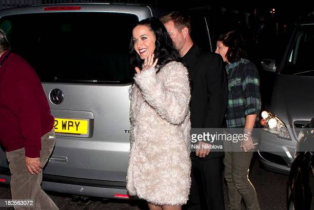 Katy Perry sighted leaving the Roundhouse Camden on September 30 2013 in London England