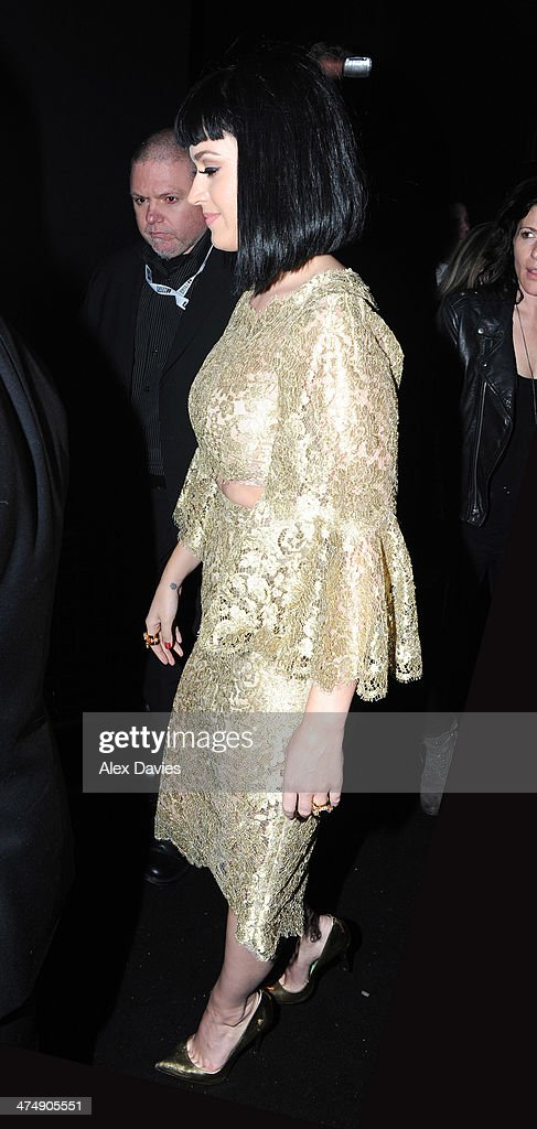 Katy Perry sighting during the BRIT awards on February 19, 2014 in London, England.