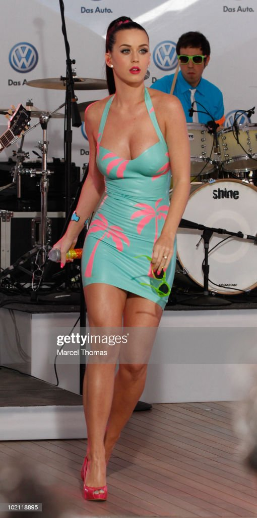 Katy Perry sighting in Times Square performing at the world premiere of Volkswagen's new compact Jetta sedan motorcar on June 15, 2010 in New York, New York.