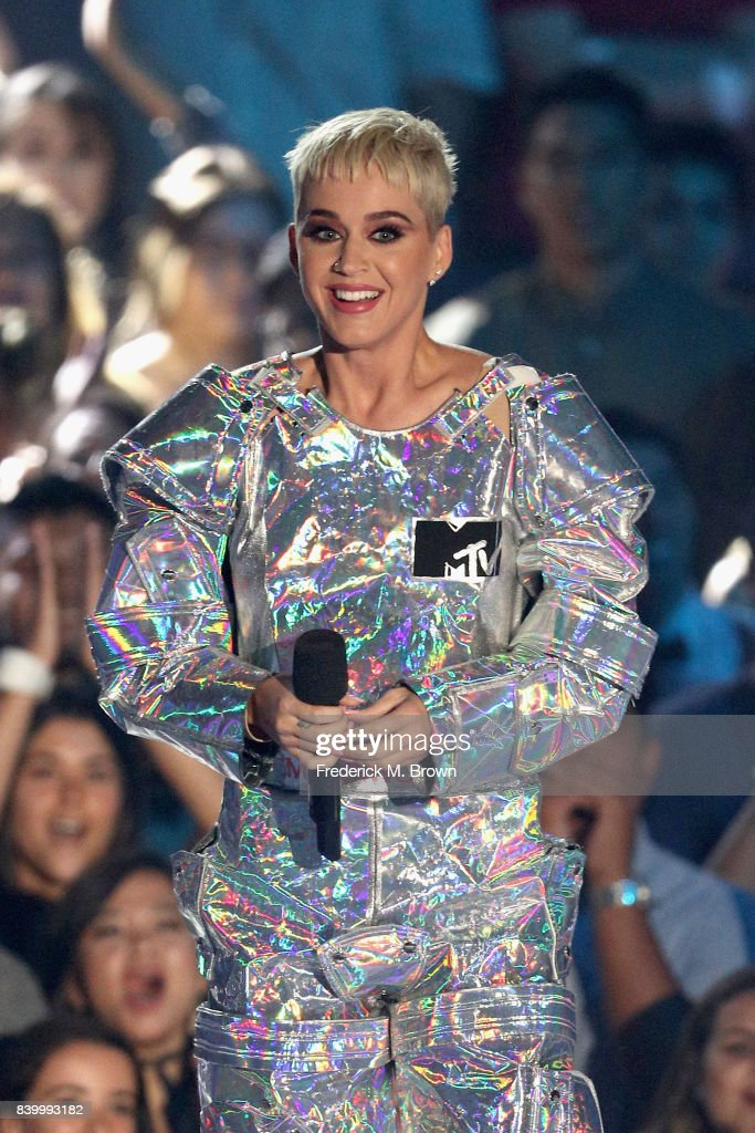 Katy Perry speaks onstage during the 2017 MTV Video Music Awards at The Forum on August 27, 2017 in Inglewood, California.