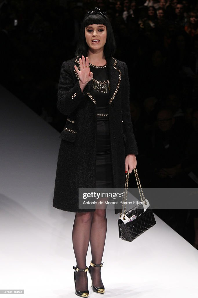 Katy Perry steps up the runway before the Moschino show as a part of Milan Fashion Week Womenswear Autumn/Winter on February 20, 2014 in Milan, Italy.