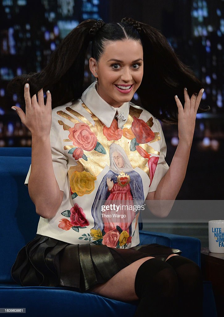 Katy Perry visits 'Late Night With Jimmy Fallon' at Rockefeller Center on October 10, 2013 in New York City.