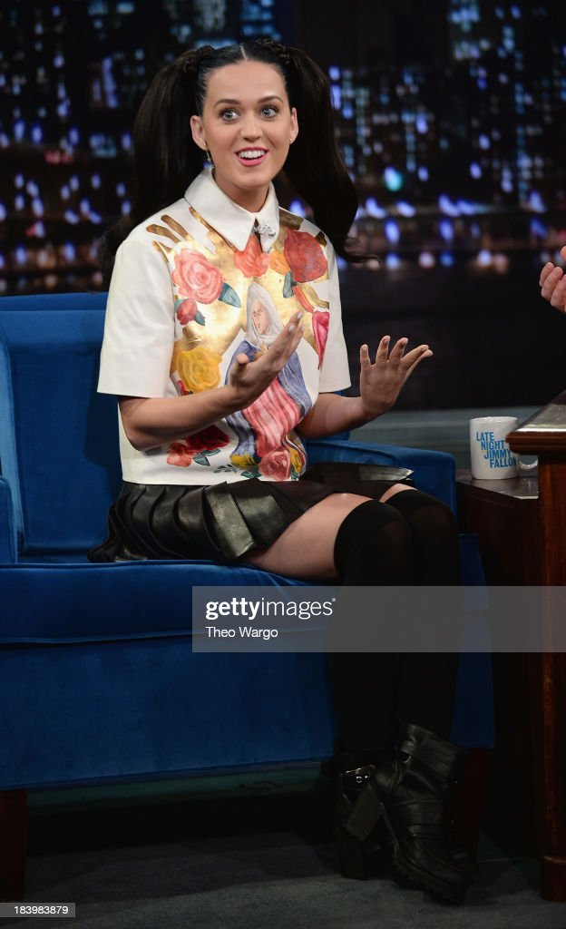 <a gi-track='captionPersonalityLinkClicked' href=/galleries/search?phrase=Katy+Perry&family=editorial&specificpeople=599558 ng-click='$event.stopPropagation()'>Katy Perry</a> visits 'Late Night With Jimmy Fallon' at Rockefeller Center on October 10, 2013 in New York City.