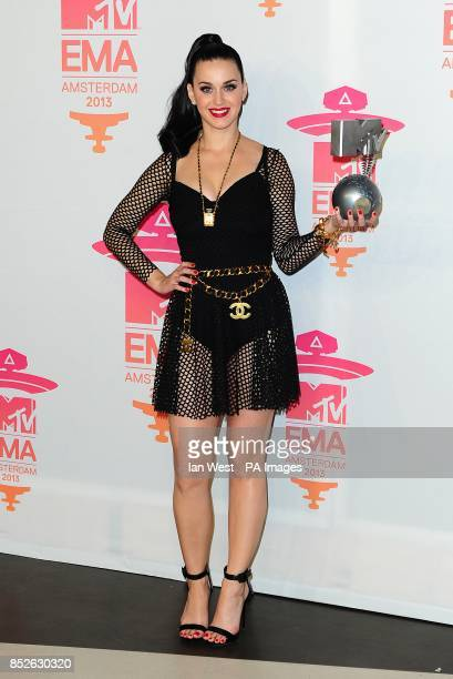 Katy Perry with the award for Best Female at the 2013 MTV Europe Music Awards at the Ziggo Dome Amsterdam Netherlands