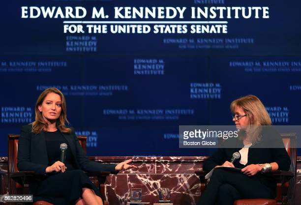 Katy Tur left of MSNBC speaks with Robin Young from WBUR about her new book 'Unbelievable My FrontRow Seat to the Craziest Campaign in American...