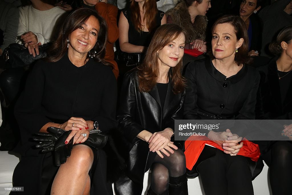 Katya Toledano, <a gi-track='captionPersonalityLinkClicked' href=/galleries/search?phrase=Isabelle+Huppert&family=editorial&specificpeople=662796 ng-click='$event.stopPropagation()'>Isabelle Huppert</a> and <a gi-track='captionPersonalityLinkClicked' href=/galleries/search?phrase=Sigourney+Weaver&family=editorial&specificpeople=201647 ng-click='$event.stopPropagation()'>Sigourney Weaver</a> attend the Christian Dior Spring/Summer 2013 Haute-Couture show as part of Paris Fashion Week at on January 21, 2013 in Paris, France.