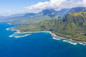 view of beautiful na pali coast at kauai island, hawaii from helicopter