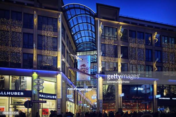 Kaufinger Street and shopping mall with Christmas decorations in Munich.