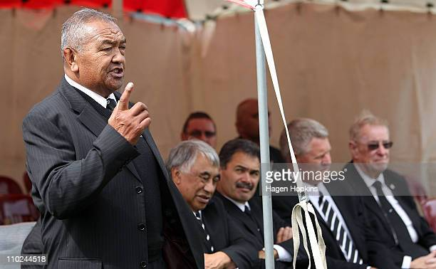 Kaumatua and member of the NZMRB Whetu Tipiwai speaks during a signing ceremony to announce the ageement between Ngati Toa and the New Zealand Rugby...