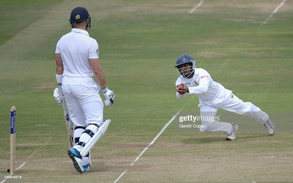 Kaushal Silva of Sri Lanka catches out <a gi-track='captionPersonalityLinkClicked' href=/galleries/search?phrase=Matt+Prior+-+Cricket+Player&family=editorial&specificpeople=13652111 ng-click='$event.stopPropagation()'>Matt Prior</a> of England during day two of 1st Investec Test match between England and Sri Lanka at Lord's Cricket Ground on June 13, 2014 in London, England.