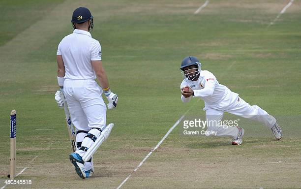 Kaushal Silva of Sri Lanka catches out Matt Prior of England during day two of 1st Investec Test match between England and Sri Lanka at Lord's...