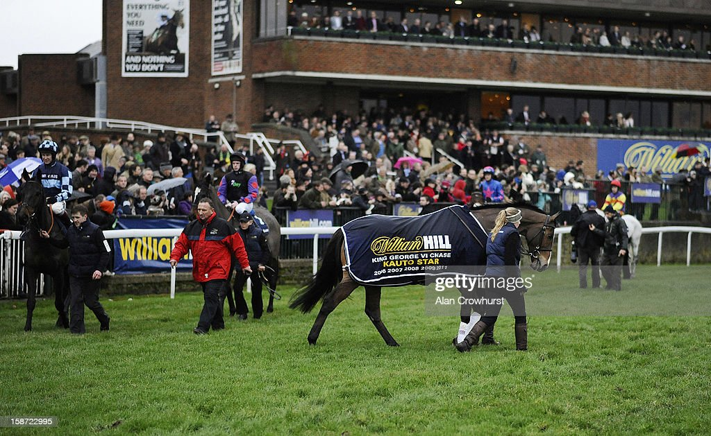 Kauto Star parades at Kempton racecourse on December 26, 2012 in Sunbury, England.