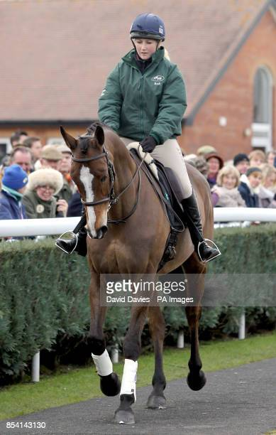 Kauto Star ridden by Laura Collitt parades his dressage skills before the Greatwood Charity Raceday at Newbury Racecourse Berkshire