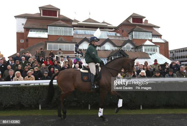 Kauto Star ridden by Laura Collitt parades his dressage skills during the Greatwood Charity Raceday at Newbury Racecourse Berkshire