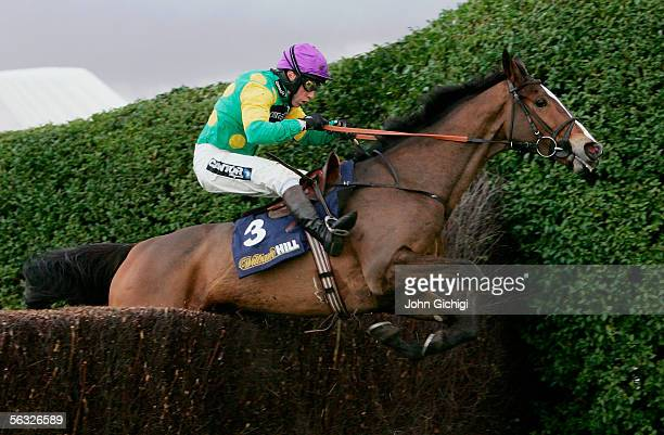 Kauto Star ridden by Mick Fitzgerald jumps the last fence to win the William Hill Tingle Creek Trophy Steeplechase at Sandown Park on December 3 2005...